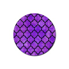 Tile1 Black Marble & Purple Watercolor Rubber Coaster (round)  by trendistuff