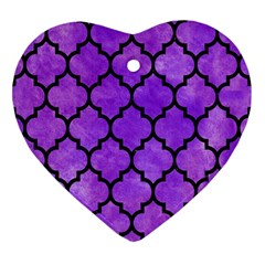 Tile1 Black Marble & Purple Watercolor Heart Ornament (two Sides) by trendistuff