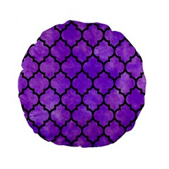 Tile1 Black Marble & Purple Watercolor Standard 15  Premium Flano Round Cushions by trendistuff