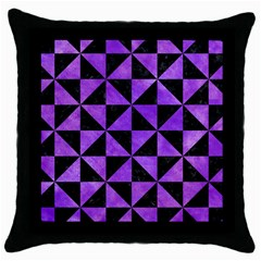 Triangle1 Black Marble & Purple Watercolor Throw Pillow Case (black) by trendistuff