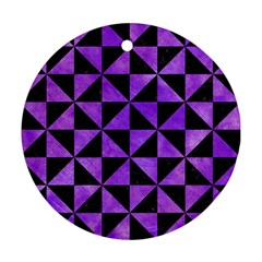 Triangle1 Black Marble & Purple Watercolor Round Ornament (two Sides) by trendistuff