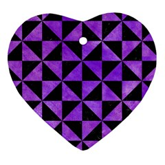 Triangle1 Black Marble & Purple Watercolor Heart Ornament (two Sides) by trendistuff