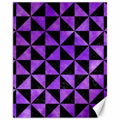 Triangle1 Black Marble & Purple Watercolor Canvas 11  X 14   by trendistuff