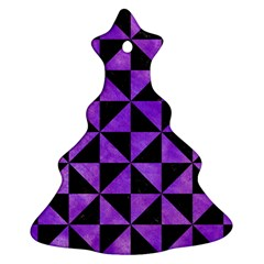 Triangle1 Black Marble & Purple Watercolor Ornament (christmas Tree)  by trendistuff