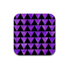 Triangle2 Black Marble & Purple Watercolor Rubber Square Coaster (4 Pack)