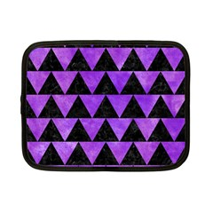 Triangle2 Black Marble & Purple Watercolor Netbook Case (small)  by trendistuff