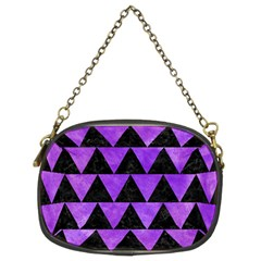 Triangle2 Black Marble & Purple Watercolor Chain Purses (two Sides)  by trendistuff