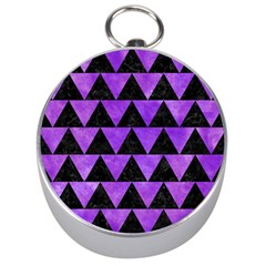 Triangle2 Black Marble & Purple Watercolor Silver Compasses by trendistuff