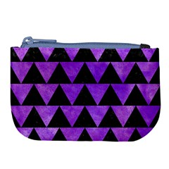 Triangle2 Black Marble & Purple Watercolor Large Coin Purse by trendistuff