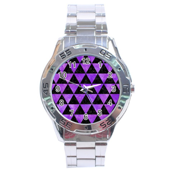 TRIANGLE3 BLACK MARBLE & PURPLE WATERCOLOR Stainless Steel Analogue Watch