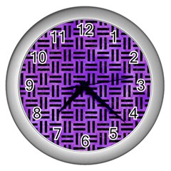 Woven1 Black Marble & Purple Watercolor Wall Clocks (silver)  by trendistuff