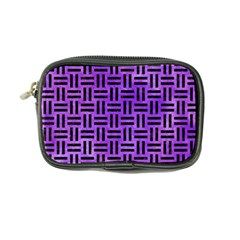 Woven1 Black Marble & Purple Watercolor Coin Purse by trendistuff