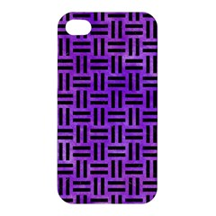 Woven1 Black Marble & Purple Watercolor Apple Iphone 4/4s Hardshell Case by trendistuff