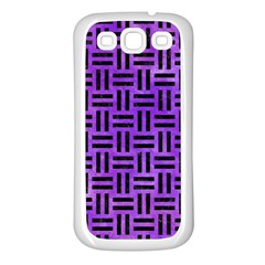 Woven1 Black Marble & Purple Watercolor Samsung Galaxy S3 Back Case (white) by trendistuff