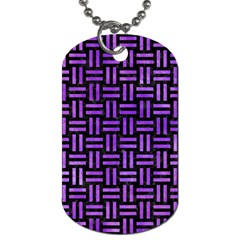 Woven1 Black Marble & Purple Watercolor (r) Dog Tag (one Side) by trendistuff