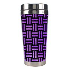 Woven1 Black Marble & Purple Watercolor (r) Stainless Steel Travel Tumblers by trendistuff