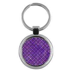 Woven2 Black Marble & Purple Watercolor Key Chains (round)