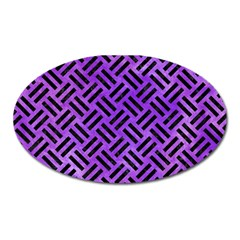 Woven2 Black Marble & Purple Watercolor Oval Magnet by trendistuff