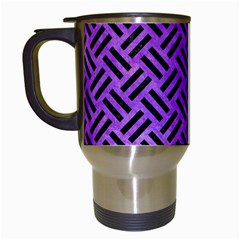Woven2 Black Marble & Purple Watercolor Travel Mugs (white) by trendistuff