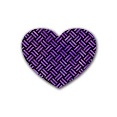 Woven2 Black Marble & Purple Watercolor (r) Rubber Coaster (heart)  by trendistuff