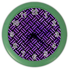 Woven2 Black Marble & Purple Watercolor (r) Color Wall Clocks by trendistuff