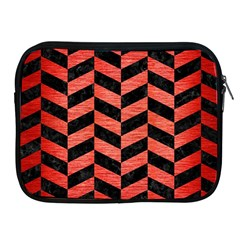 Chevron1 Black Marble & Red Brushed Metal Apple Ipad 2/3/4 Zipper Cases by trendistuff