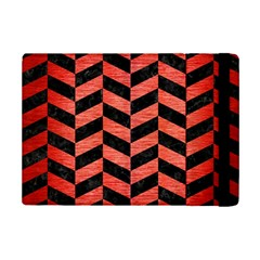 Chevron1 Black Marble & Red Brushed Metal Ipad Mini 2 Flip Cases by trendistuff