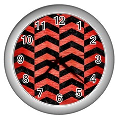 Chevron2 Black Marble & Red Brushed Metal Wall Clocks (silver)  by trendistuff