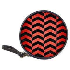 Chevron2 Black Marble & Red Brushed Metal Classic 20 Cd Wallets by trendistuff