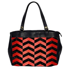 Chevron2 Black Marble & Red Brushed Metal Office Handbags (2 Sides)  by trendistuff