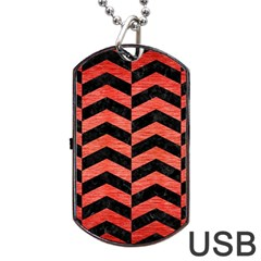 Chevron2 Black Marble & Red Brushed Metal Dog Tag Usb Flash (one Side) by trendistuff