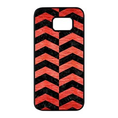 Chevron2 Black Marble & Red Brushed Metal Samsung Galaxy S7 Edge Black Seamless Case