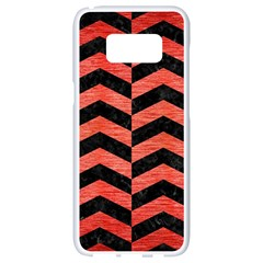 Chevron2 Black Marble & Red Brushed Metal Samsung Galaxy S8 White Seamless Case by trendistuff