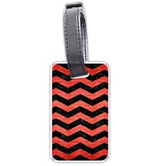 Chevron3 Black Marble & Red Brushed Metal Luggage Tags (one Side)  by trendistuff