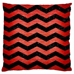 Chevron3 Black Marble & Red Brushed Metal Large Cushion Case (one Side) by trendistuff
