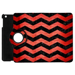Chevron3 Black Marble & Red Brushed Metal Apple Ipad Mini Flip 360 Case by trendistuff