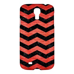 Chevron3 Black Marble & Red Brushed Metal Samsung Galaxy S4 I9500/i9505 Hardshell Case