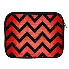 Chevron9 Black Marble & Red Brushed Metal Apple Ipad 2/3/4 Zipper Cases by trendistuff