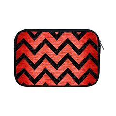 Chevron9 Black Marble & Red Brushed Metal Apple Ipad Mini Zipper Cases by trendistuff