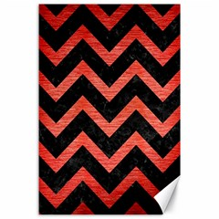 Chevron9 Black Marble & Red Brushed Metal (r) Canvas 24  X 36