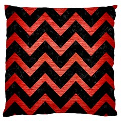 Chevron9 Black Marble & Red Brushed Metal (r) Large Cushion Case (two Sides) by trendistuff