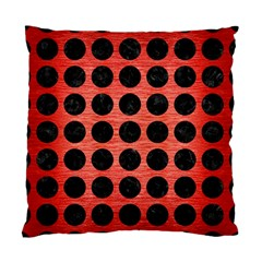 Circles1 Black Marble & Red Brushed Metal Standard Cushion Case (two Sides)