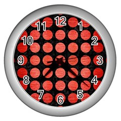 Circles1 Black Marble & Red Brushed Metal (r) Wall Clocks (silver)  by trendistuff
