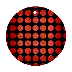 Circles1 Black Marble & Red Brushed Metal (r) Round Ornament (two Sides) by trendistuff
