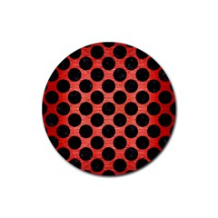 Circles2 Black Marble & Red Brushed Metal Rubber Coaster (round)  by trendistuff