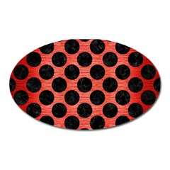 Circles2 Black Marble & Red Brushed Metal Oval Magnet