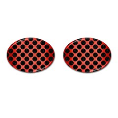 Circles2 Black Marble & Red Brushed Metal Cufflinks (oval) by trendistuff