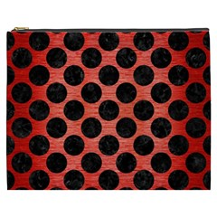 Circles2 Black Marble & Red Brushed Metal Cosmetic Bag (xxxl)  by trendistuff