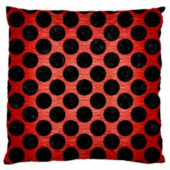 Circles2 Black Marble & Red Brushed Metal Large Flano Cushion Case (two Sides) by trendistuff