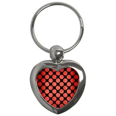 Circles2 Black Marble & Red Brushed Metal (r) Key Chains (heart)